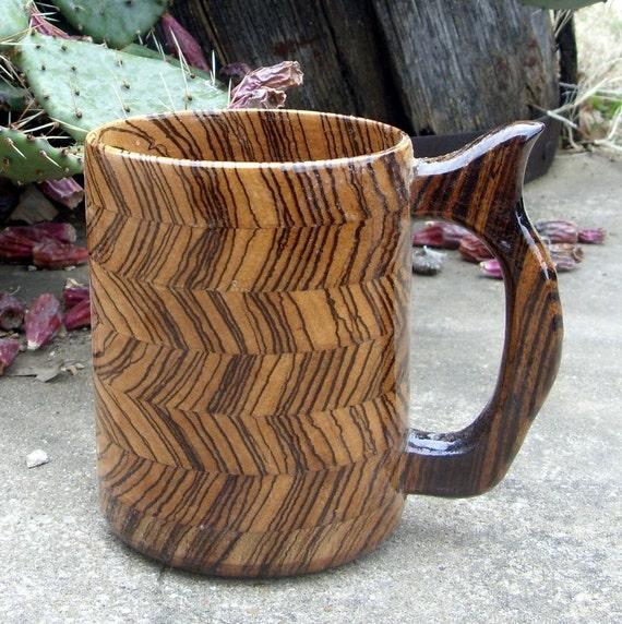Handcrafted Wood Mug  Zebra Wood 32 oz Beer Mug, Wooden Tankard, Stein, Drinking Vessel, Wood Beer Mug, Wooden Mug, Mug