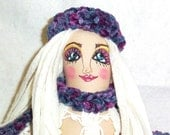 Cloth Art Doll, Hand Embroidered, OOAK Gretchen Go Shopping