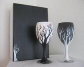 Black and White Cherry Blossom Wine Glasses