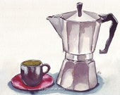 Watercolor Painting - Silver Coffee Espresso Maker with Cup Watercolor Art Print, 8x10