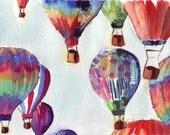 5x7 Print Watercolor Painting - Hot Air Balloons Illustration Watercolor, 5x7 Art Print