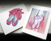Set of Cards - Ballet Shoes Watercolor Art Notecards, Set of 4