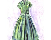 Watercolor Painting - Fashion Art, Green Vintage Dress Watercolor Art Print, 5x7 Wall Art