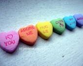 Art Photography - Heart Nursery Art - Rainbow Candy Heart Art Photograph 2, 11x14 Wall Art