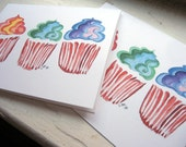 Blank Card Set - Cupcake Notecards Set, Rainbow Note Cards, Set of 4