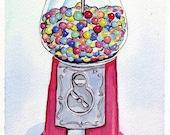 Gumball Machine Art, Candy Watercolor Art Print, 8x10