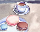 Coffee and Macarons, Original Watercolor Painting, 7x10 matted to 11x14