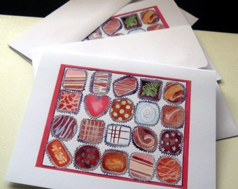 Chocolate Cards, Box of Chocolates Watercolor Art Notecards, Set of 12