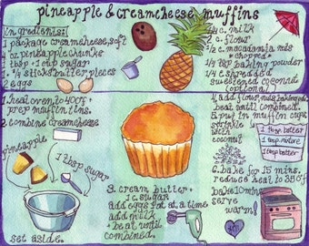 Recipe Watercolor Painting - Original Watercolor Art - Illustrated Muffin Recipe - Kitchen Print - 8x10 Print