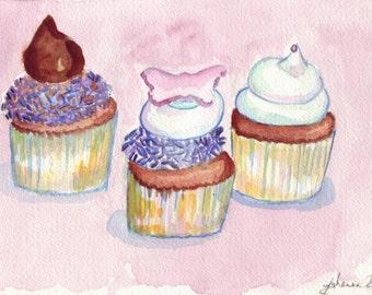 Watercolor Painting - Cupcake Art - Three Sweet Cupcakes Wall Art Print, 8x10