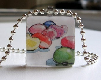 Jellybean Candy Necklace - Art Glass Tile Pendant Necklace