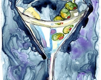 Watercolor Painting - Martini Watercolor Art Print, 11x14 Wall Art