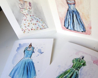 Stationery Set - Vintage Dress Fashion Cards Watercolor Art Note Cards Ed. 2, Set of 8