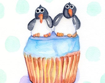Children's Wall Art Watercolor Painting - Kids Art - Penguin Illustration Art, Cupcake Watercolor Art Print, 8x10