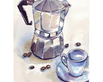 Coffee Watercolor Painting - Cafe Art Illustration- Espresso Maker with Cup 2 - Watercolor Art Print, 5x7