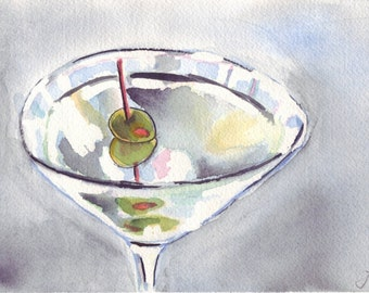 Watercolor Painting - Martini with Olives Watercolor Art, 11x14 Print