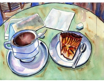 Paris Watercolor Painting - Cafe Watercolor Art Print, 11x14, Coffee with Tart and Postcards