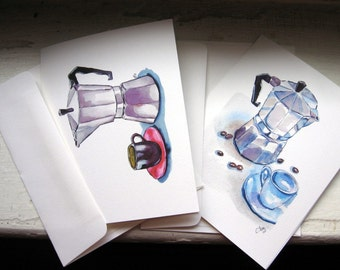 Note Card Set - Espresso Watercolor Art Notecards, Set of 4
