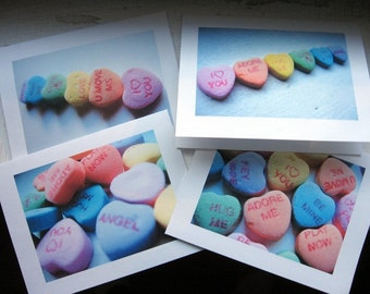 Valentines Notecards, Candy Heart Photo Art Cards, Set of 12