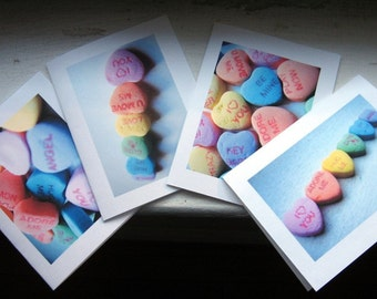 Valentine Cards Candy Heart Notecards Conversation Heart Photo Art Cards, Set of 8