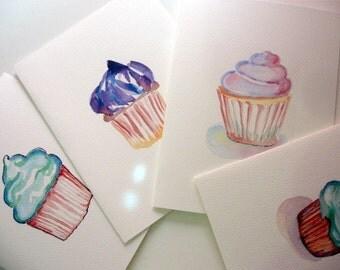 Cupcake Notecards, Blank Watercolor Art Cards (Ed. 5), Set of 8