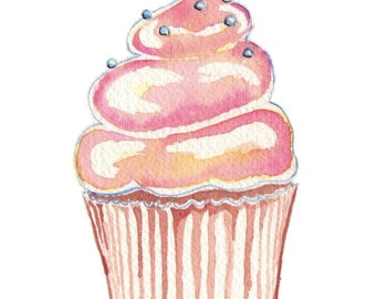 Watercolor Painting - Kids art- Cute Pink Cupcake Art Print, 8x10 Wall Art