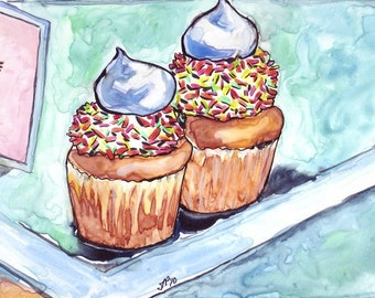 Still Life Watercolor Painting - Cupcakes with Sprinkles Watercolor Art Print - 8x10