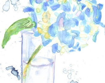 Watercolor Painting - Still Life - Blue Hydrangea Flower Watercolor Art Print, 5x7