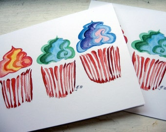 Cupcake Notecards - Rainbow Swirl Cupcake Art Note Cards, Set of 8