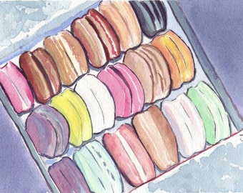 Macarons Art no. 3 Watercolor Painting - Square Box of Macarons Watercolor Art Print, 5x7