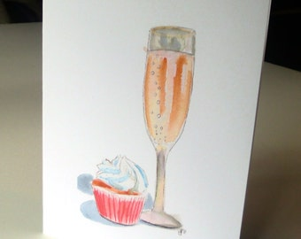 New Years Blank Cards- Champagne and Cupcake Notecards, Watercolor Art Cards, Set of 4