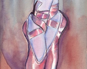 11x14 Watercolor Painting - Ballet Art, Pink Ballet Shoes Watercolor Art Print, 11x14 Wall Art