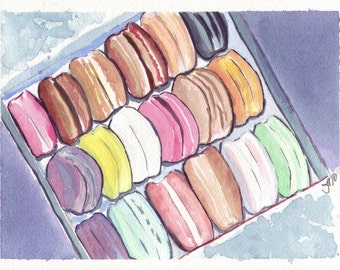 Macarons Art no. 3 Watercolor Painting - Square Box of Macarons Watercolor Art Print, 8x10