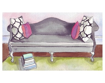 Watercolor Painting - Black Sofa with PIllows and Books, Watercolor Art Print, 5x7