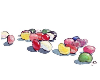 Watercolor Painting - Jellybeans Candy Art Watercolor Art Print, 8x10