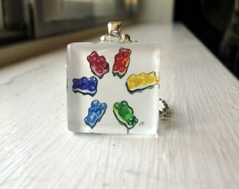 Gummi Bears Candy Necklace, Glass Tile Pendant Necklace, Wearable Watercolor Art