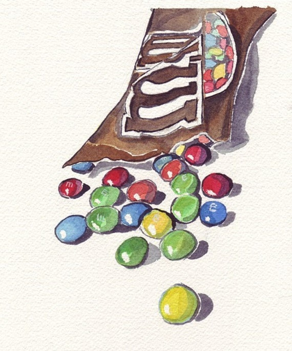 M and Ms Chocolate Candy Art, Original Watercolor Painting, 6x9