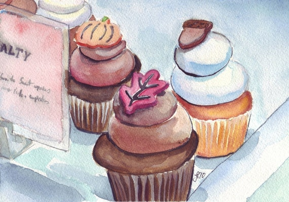 Watercolor Painting - Cupcake Art, Fall Watercolor Art Print, 8x10 Wall Art