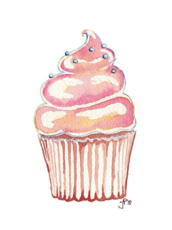 Cupcake Art Watercolor Painting Kids art Cute Pink Cupcake
