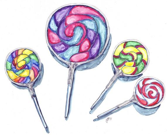 8x10 Print of Watercolor Painting - Still Life - Swirl Lollipops Art - Watercolor Art Print, 8x10 Wall Art, Candy Series no. 5