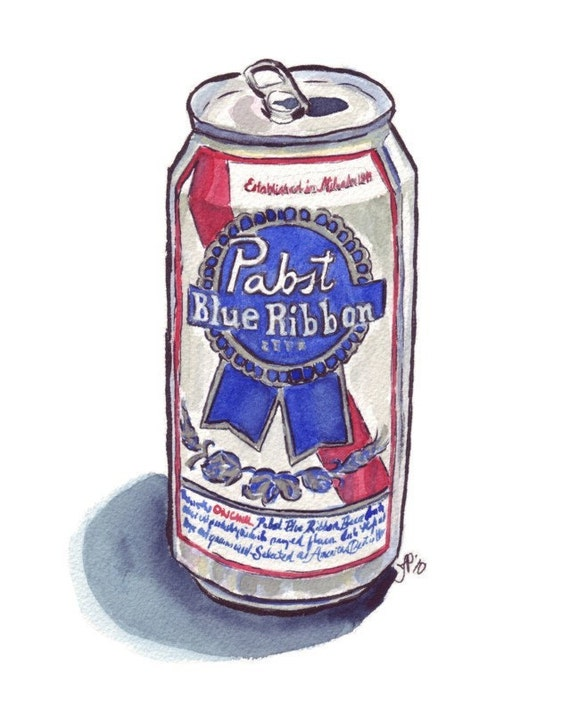 Watercolor Painting - Still Life - Pabst Blue Ribbon Beer Watercolor Art Print, 8x10