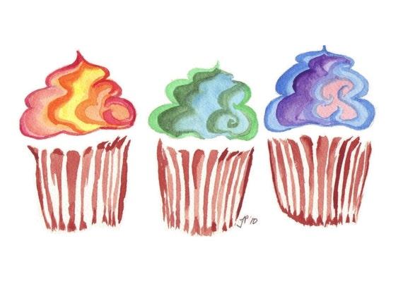 Watercolor Painting - Kids Art Print - Rainbow Swirl Cupcake Watercolor Art Print, 5x7
