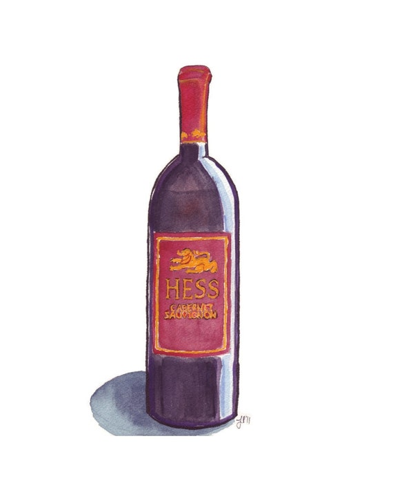 watercolor painting red wine bottle art watercolor art