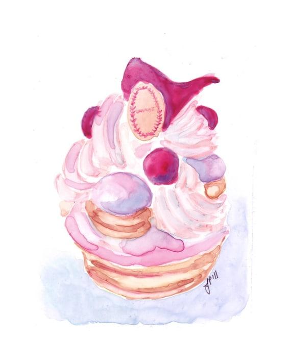 Laduree Watercolor Painting - Pink French Pastry Watercolor Art Painting, Ladure Saint Honore, 5x7 Art Print