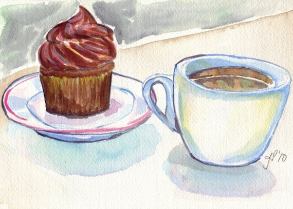 Cupcake and coffee watercolor painting still life for Coffee watercolor