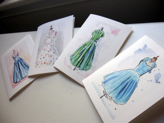 Notecards, Vintage Dress Watercolor Art Note Cards Ed. 2, Set of 12