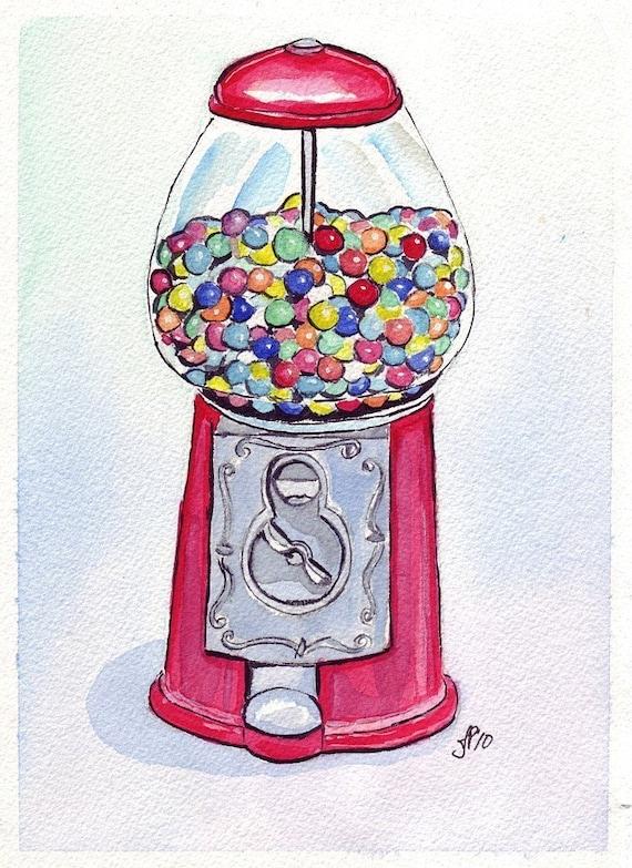 Watercolor Painting - Gumball Machine Art, Watercolor Art Print, 5x7