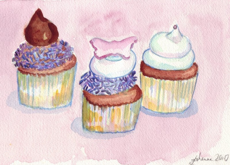 Watercolor painting cupcake art three sweet cupcakes wall for Cupcake wall art