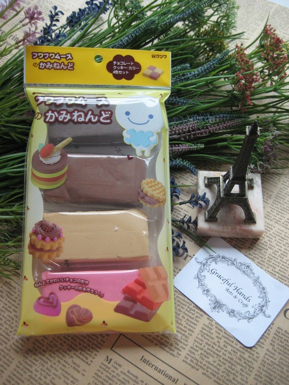 Fuwa Fuwa mousse decorated paper clay - soft light weight Japanese Clay -4 color set