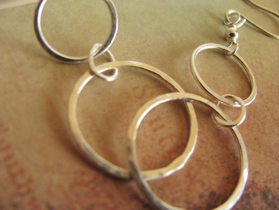 Silver hoop earrings, fused, hammered, Fine silver, Three Hammered Circles, dangle earring